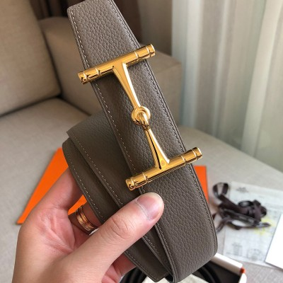Hermes H Hippique Buckle 38MM Reversible Belt Togo Leather In Grey