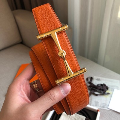 Hermes H Hippique Buckle 38MM Reversible Belt Togo Leather In Orange