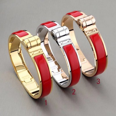 Hermes Hinged Enamel Bracelet In Red
