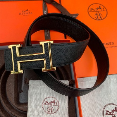 Hermes H Leather Buckle 38MM Reversible Belt Togo Leather In Black/Gold