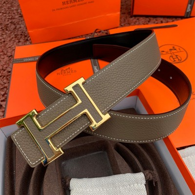 Hermes H Leather Buckle 38MM Reversible Belt Togo Leather In Grey/Gold