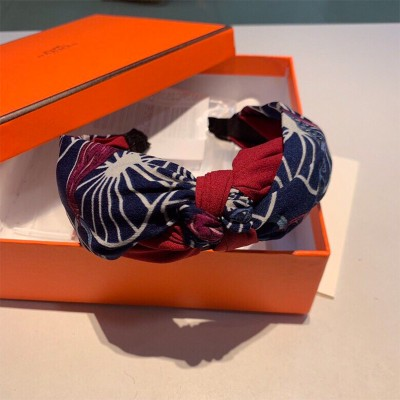 Hermes Horse Chain Print Headband Navy Blue