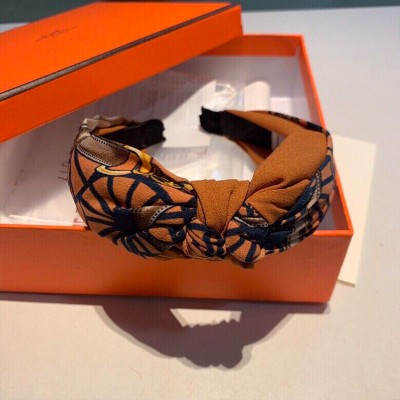 Hermes Horse Chain Print Headband Orange