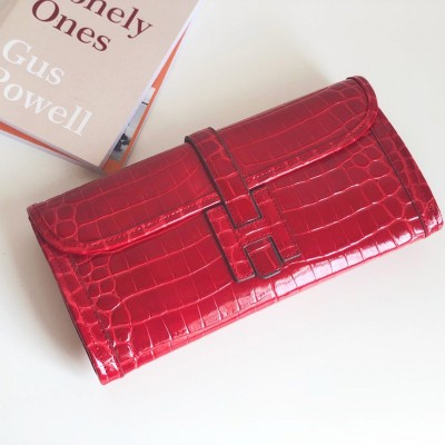 Hermes Jige Elan Clutch Alligator Leather In Red