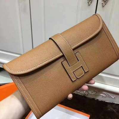 Hermes Jige Elan Clutch Epsom Leather In Khaki