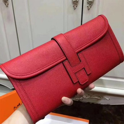 Hermes Jige Elan Clutch Epsom Leather In Red