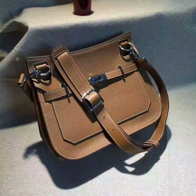 Hermes Jypsiere Bag Clemence Leather Palladium Hardware In Brown