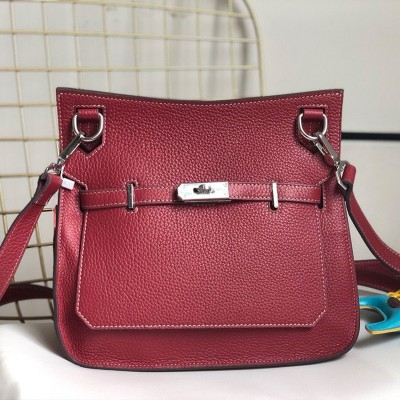 Hermes Jypsiere Bag Clemence Leather Palladium Hardware In Burgundy