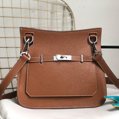 Hermes Jypsiere Bag Clemence Leather Palladium Hardware In Caramel