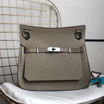 Hermes Jypsiere Bag Clemence Leather Palladium Hardware In Khaki