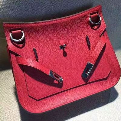Hermes Jypsiere Bag Clemence Leather Palladium Hardware In Red
