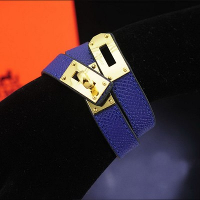 Hermes Kelly Double Tour Bracelet In Blue