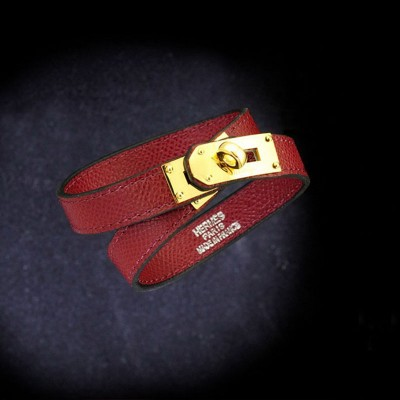 Hermes Kelly Double Tour Bracelet In Burgundy