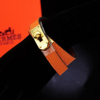 Hermes Kelly Double Tour Bracelet In Orange