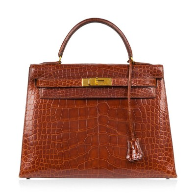 Hermes Kelly Bag Alligator Leather Gold Hardware In Brown