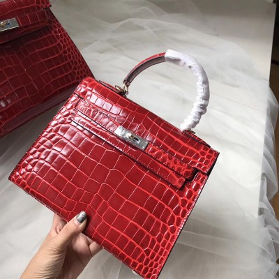 Hermes Kelly Bag Alligator Leather Gold Hardware In Burgundy