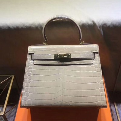 Hermes Kelly Bag Alligator Leather Gold Hardware In Grey