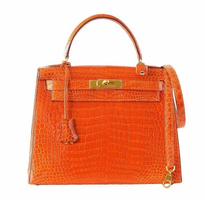 Hermes Kelly Bag Alligator Leather Gold Hardware In Orange