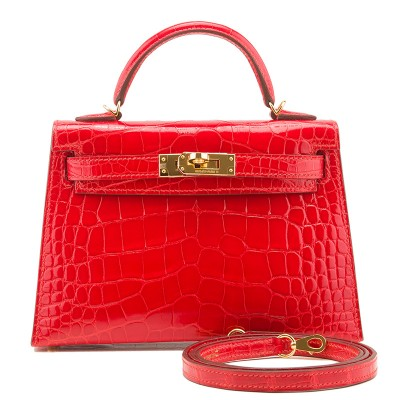 Hermes Kelly Bag Alligator Leather Gold Hardware In Red