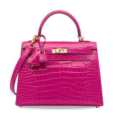Hermes Kelly Bag Alligator Leather Gold Hardware In Rose