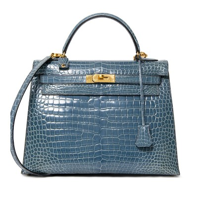 Hermes Kelly Bag Alligator Leather Gold Hardware In Sky Blue