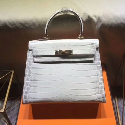 Hermes Kelly Bag Alligator Leather Gold Hardware In White