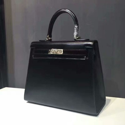 Hermes Kelly Bag Box Leather Gold Hardware In Black