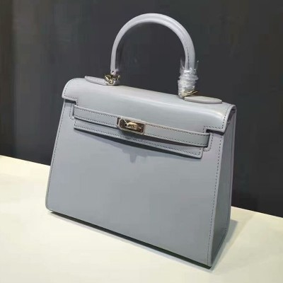 Hermes Kelly Bag Box Leather Gold Hardware In Blue