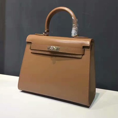 Hermes Kelly Bag Box Leather Gold Hardware In Brown