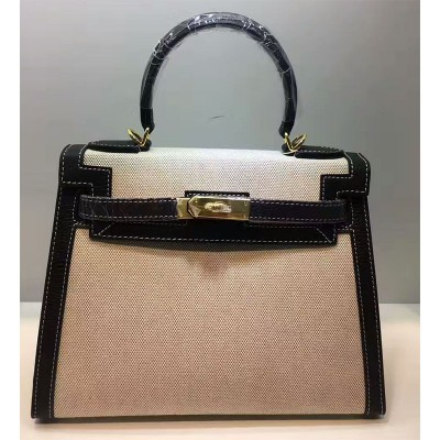 Hermes Kelly Bag Canvas Gold Hardware In Black