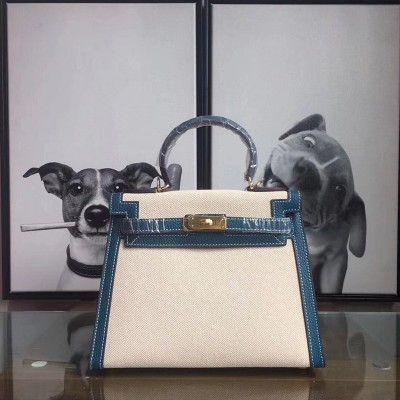 Hermes Kelly Bag Canvas Gold Hardware In Blue