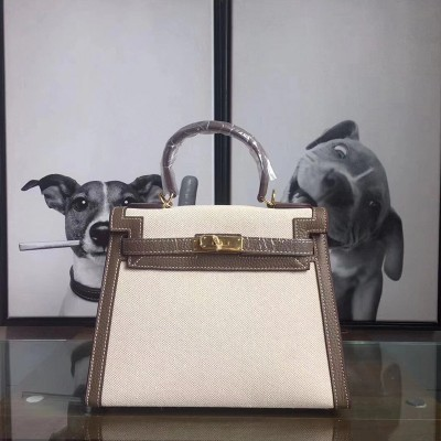 Hermes Kelly Bag Canvas Gold Hardware In Coffee