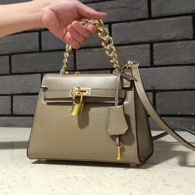 Hermes Kelly Chain Bag Box Leather Gold Hardware In Apricot