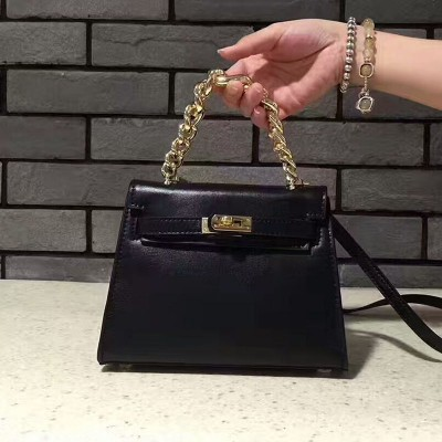 Hermes Kelly Chain Bag Box Leather Gold Hardware In Black