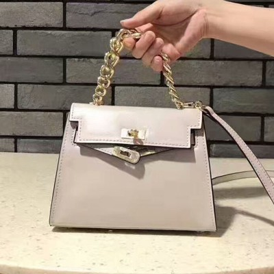 Hermes Kelly Chain Bag Box Leather Gold Hardware In White