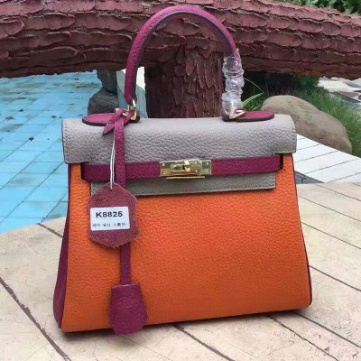 Hermes Kelly Bag Color Blocking Clemence Leather Gold Hardware In Orange