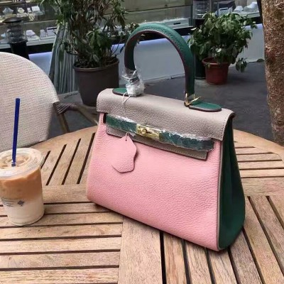 Hermes Kelly Bag Color Blocking Clemence Leather Gold Hardware In Pink