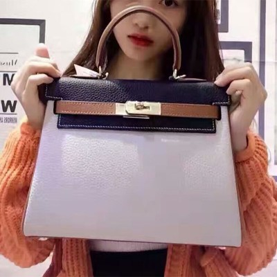 Hermes Kelly Bag Color Blocking Clemence Leather Gold Hardware In White