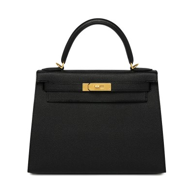 Hermes Kelly Bag Epsom Leather Gold Hardware In Black
