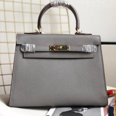 Hermes Kelly Bag Epsom Leather Gold Hardware In Dark Grey
