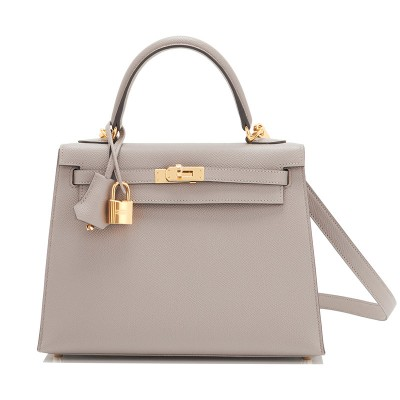 Hermes Kelly Bag Epsom Leather Gold Hardware In Grey