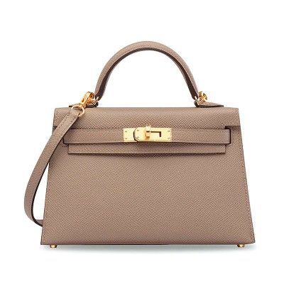 Hermes Kelly Bag Epsom Leather Gold Hardware In Khaki