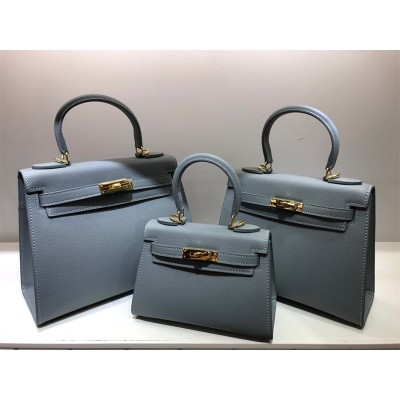 Hermes Kelly Bag Epsom Leather Gold Hardware In Sky Blue