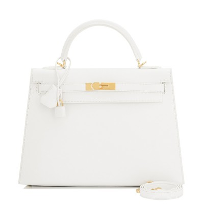 Hermes Kelly Bag Epsom Leather Gold Hardware In White