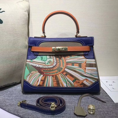 Hermes Kelly Graffiti Bag Togo Leather Gold Hardware In Blue