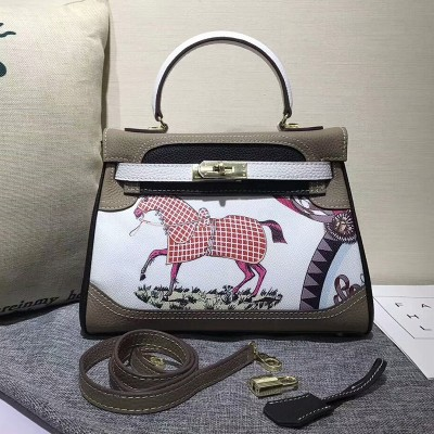 Hermes Kelly Graffiti Bag Togo Leather Gold Hardware In Grey