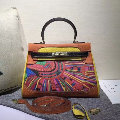 Hermes Kelly Graffiti Bag Togo Leather Gold Hardware In Orange