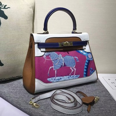 Hermes Kelly Graffiti Bag Togo Leather Gold Hardware In White