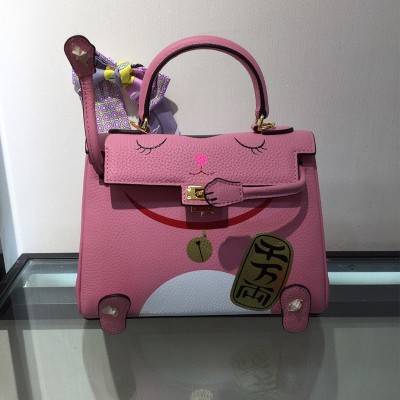 Hermes Kelly Lucky Cat Bag Togo Leather Gold Hardware In Pink