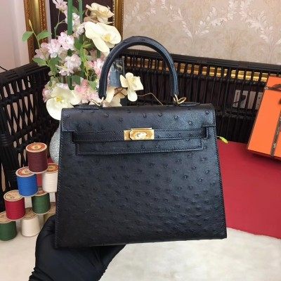 Hermes Kelly Bag Ostrich Leather Gold Hardware In Black